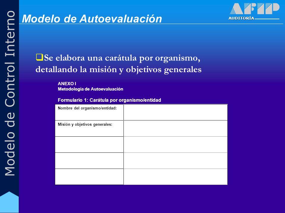 AUDITORÍA Modelo de Control Interno ANEXO I Metodología de Autoevaluación Formulario 1: Carátula por organismo/entidad Nombre del organismo/entidad: M