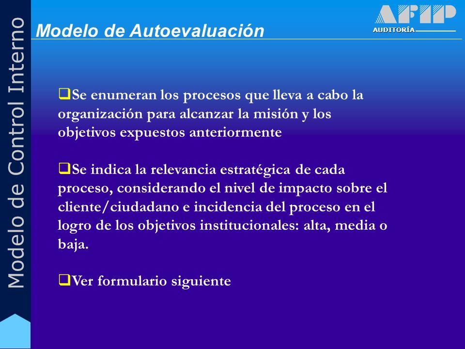 AUDITORÍA Modelo de Control Interno Se enumeran los procesos que lleva a cabo la organización para alcanzar la misión y los objetivos expuestos anteri