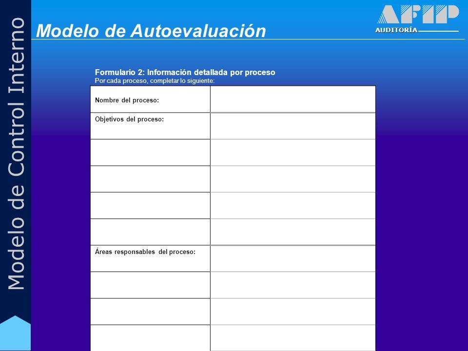 AUDITORÍA Modelo de Control Interno Formulario 2: Información detallada por proceso Por cada proceso, completar lo siguiente: Nombre del proceso: Objetivos del proceso: Áreas responsables del proceso: Modelo de Autoevaluación