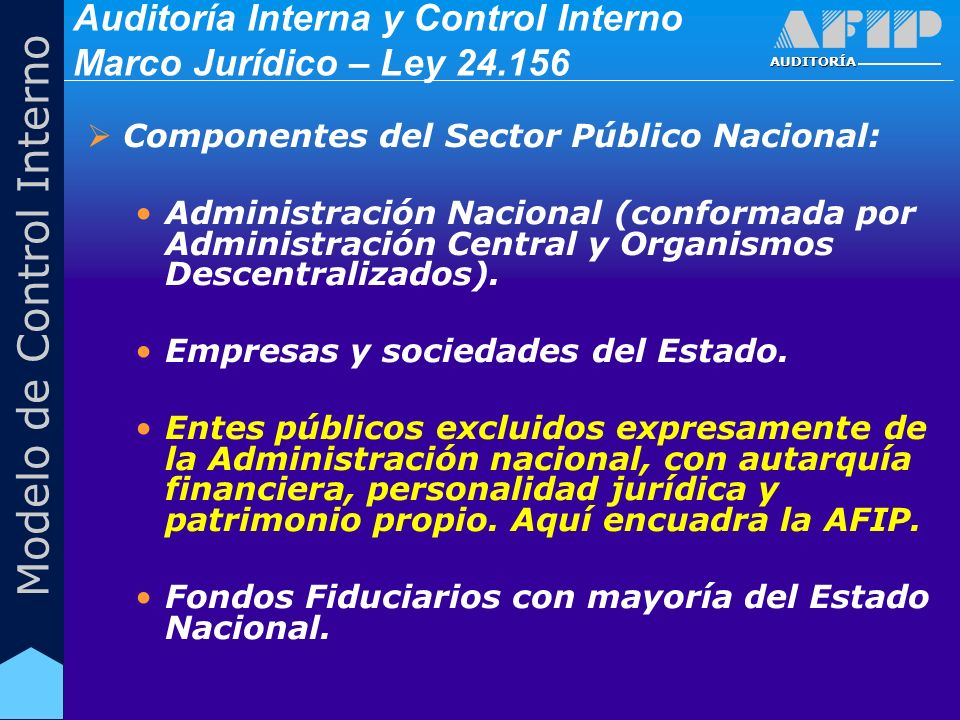 AUDITORÍA Modelo de Control Interno Componentes del Sector Público Nacional: Administración Nacional (conformada por Administración Central y Organism