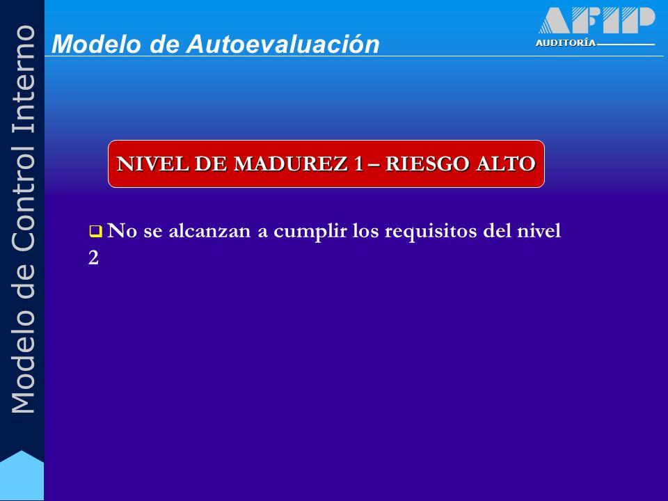 AUDITORÍA Modelo de Control Interno NIVEL DE MADUREZ 1 – RIESGO ALTO No se alcanzan a cumplir los requisitos del nivel 2 Modelo de Autoevaluación