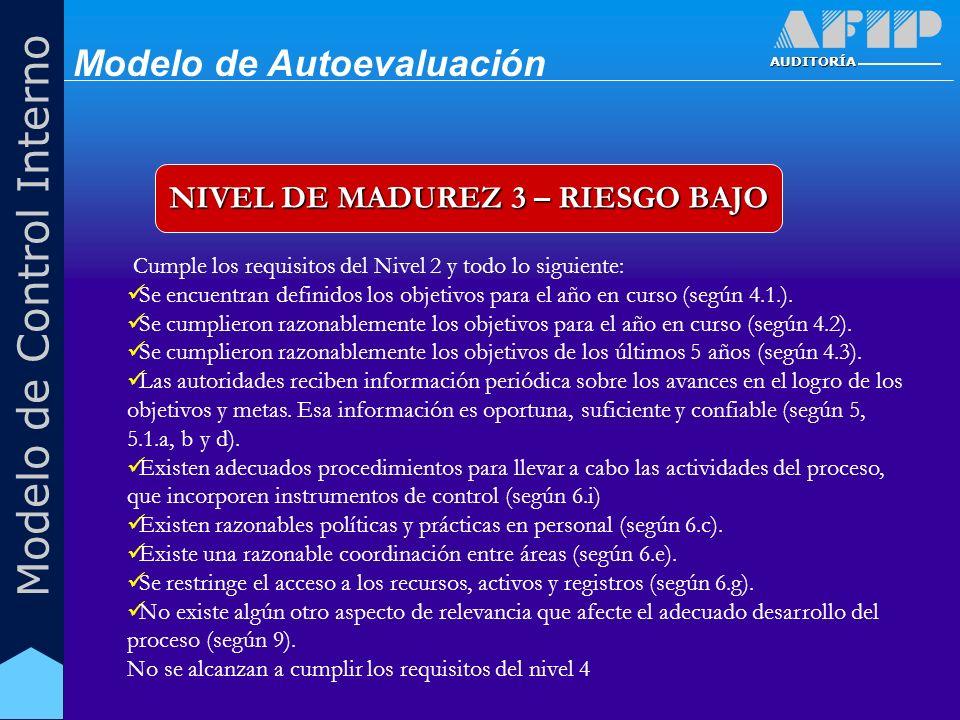 AUDITORÍA Modelo de Control Interno NIVEL DE MADUREZ 3 – RIESGO BAJO Cumple los requisitos del Nivel 2 y todo lo siguiente: Se encuentran definidos los objetivos para el año en curso (según 4.1.).