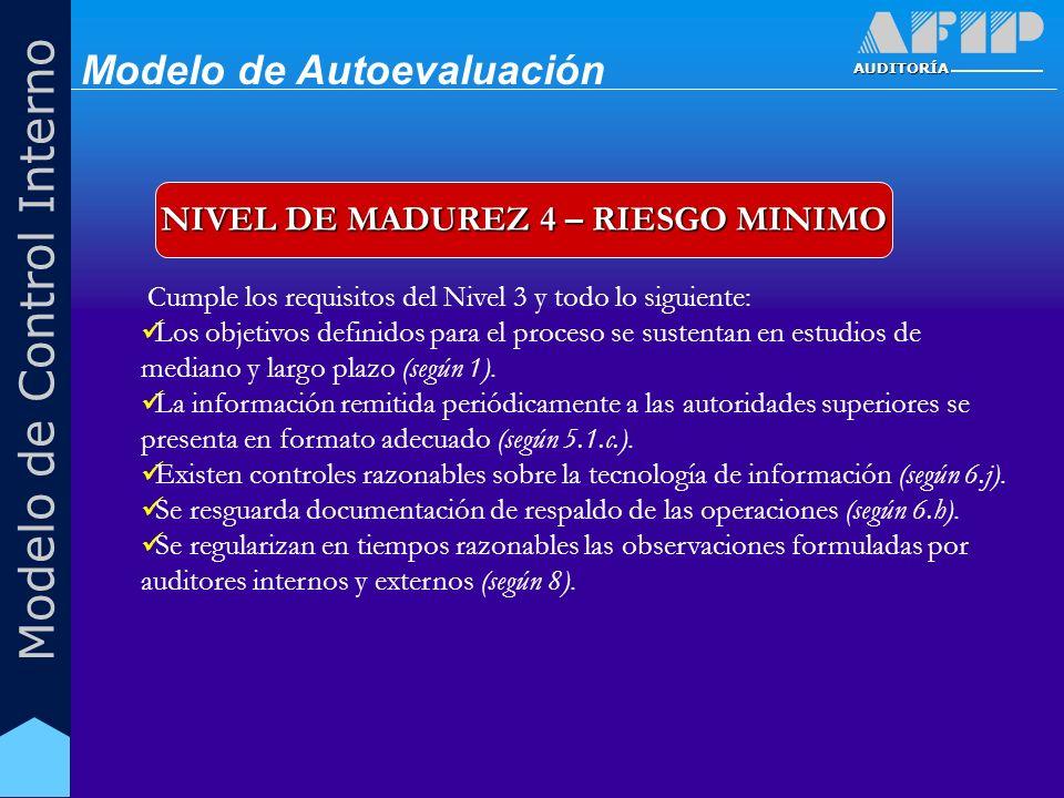 AUDITORÍA Modelo de Control Interno NIVEL DE MADUREZ 4 – RIESGO MINIMO Cumple los requisitos del Nivel 3 y todo lo siguiente: Los objetivos definidos para el proceso se sustentan en estudios de mediano y largo plazo (según 1).