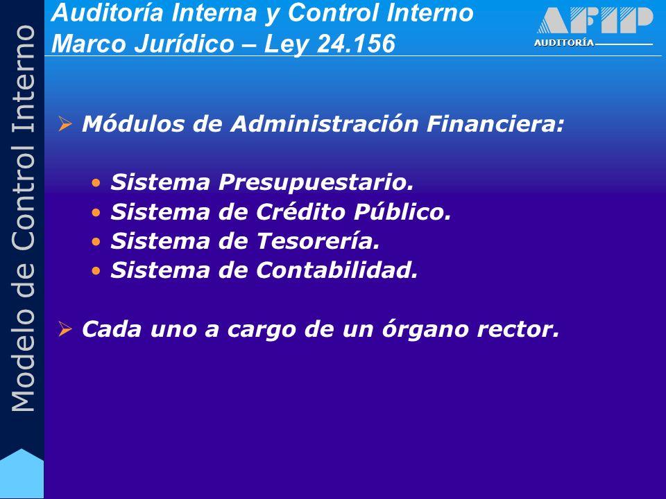 AUDITORÍA Modelo de Control Interno Auditoría Interna y Control Interno Marco Jurídico – Ley 24.156 Módulos de Administración Financiera: Sistema Pres