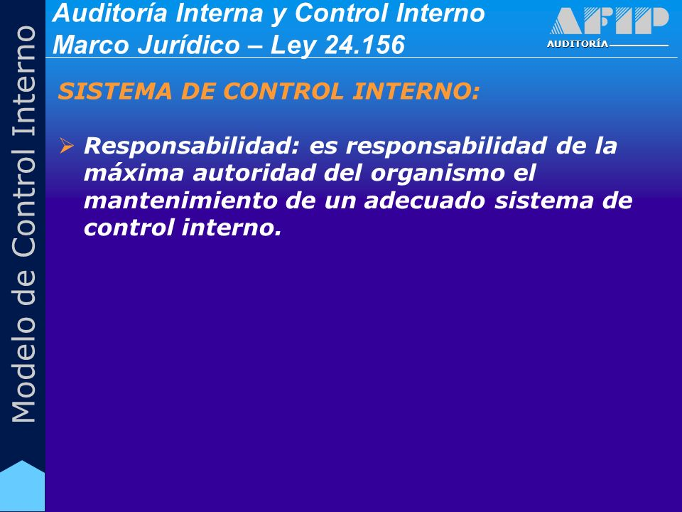 AUDITORÍA Modelo de Control Interno Responsabilidad: es responsabilidad de la máxima autoridad del organismo el mantenimiento de un adecuado sistema d