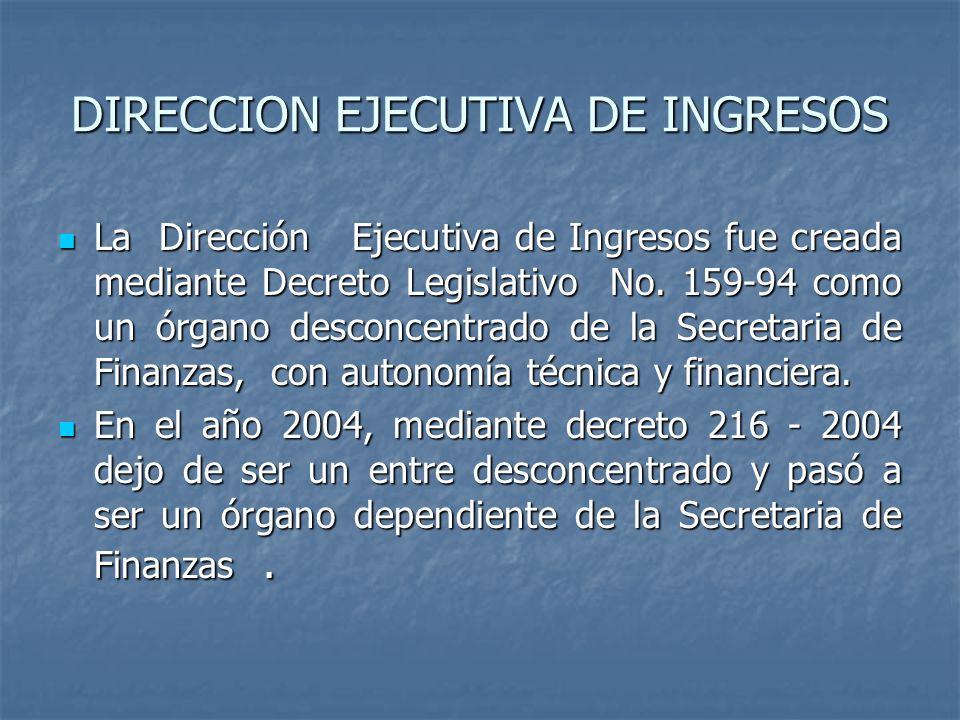DIRECCION EJECUTIVA DE INGRESOS La Dirección Ejecutiva de Ingresos fue creada mediante Decreto Legislativo No. 159-94 como un órgano desconcentrado de