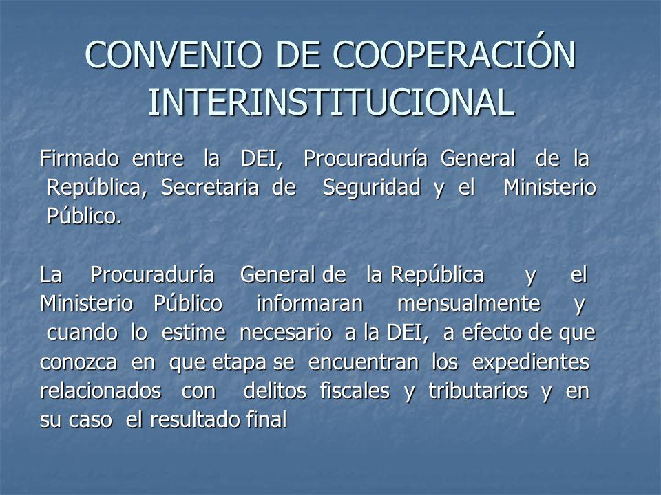 CONVENIO DE COOPERACIÓN INTERINSTITUCIONAL Firmado entre la DEI, Procuraduría General de la República, Secretaria de Seguridad y el Ministerio Repúbli