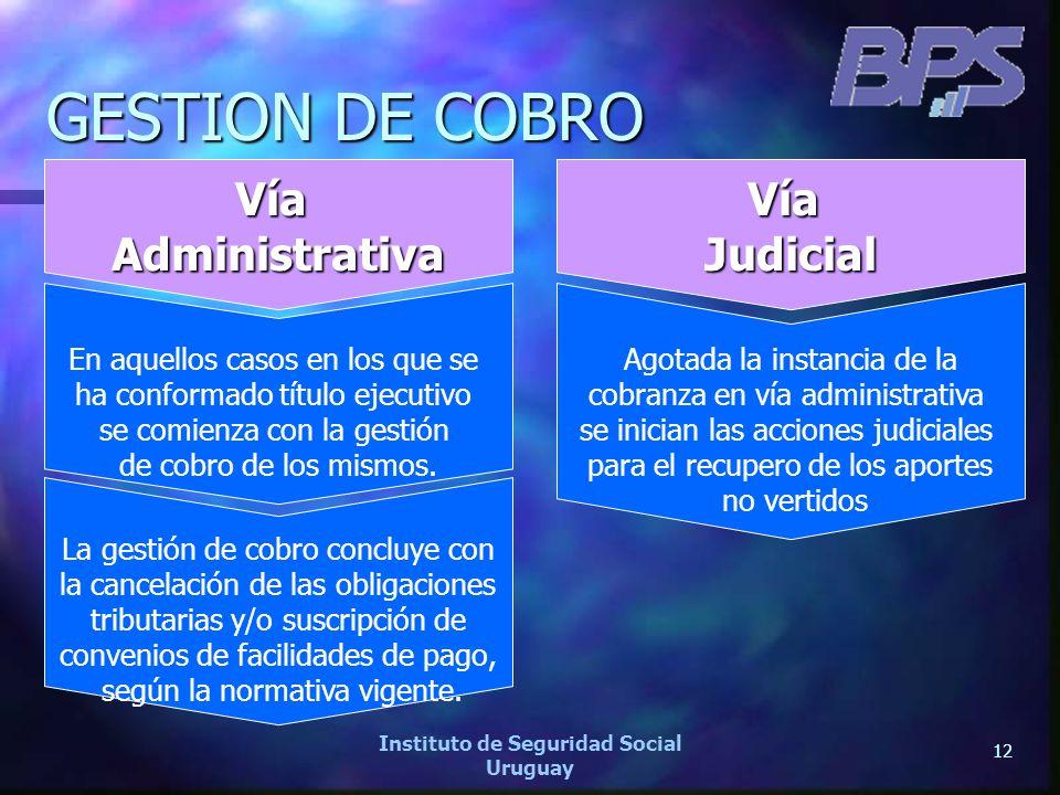 12 Instituto de Seguridad Social Uruguay GESTION DE COBRO VíaAdministrativa En aquellos casos en los que se ha conformado título ejecutivo se comienza