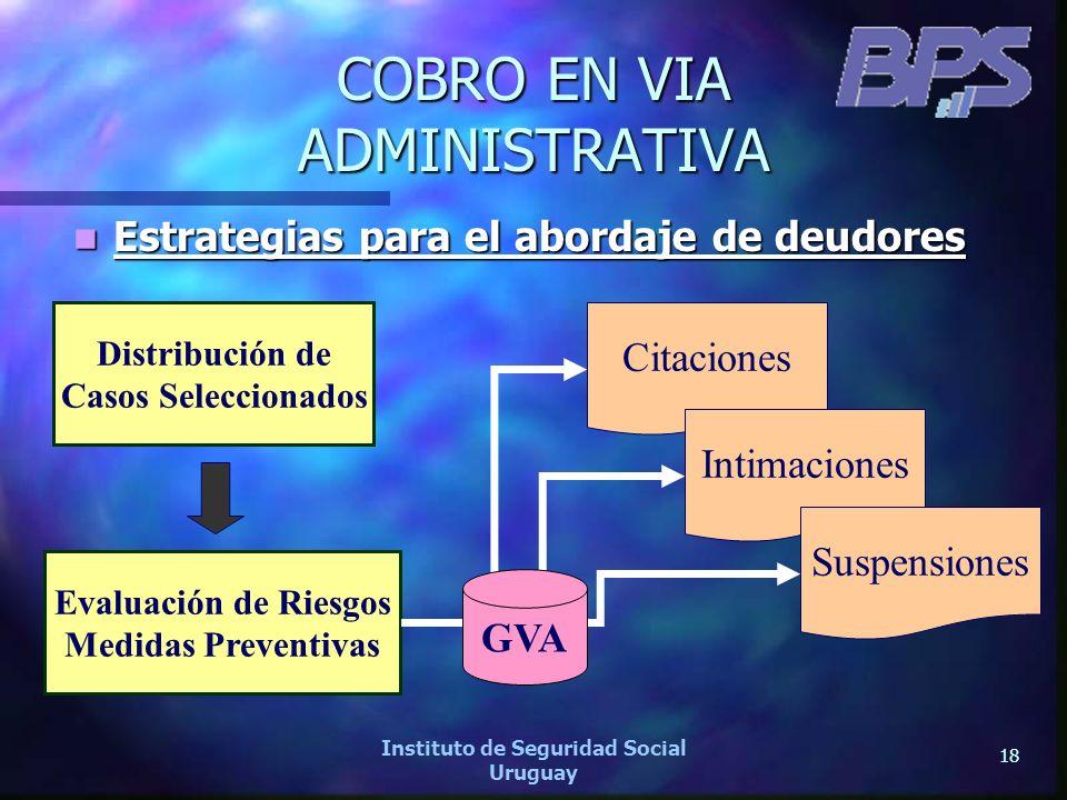 18 Instituto de Seguridad Social Uruguay COBRO EN VIA ADMINISTRATIVA Estrategias para el abordaje de deudores Estrategias para el abordaje de deudores