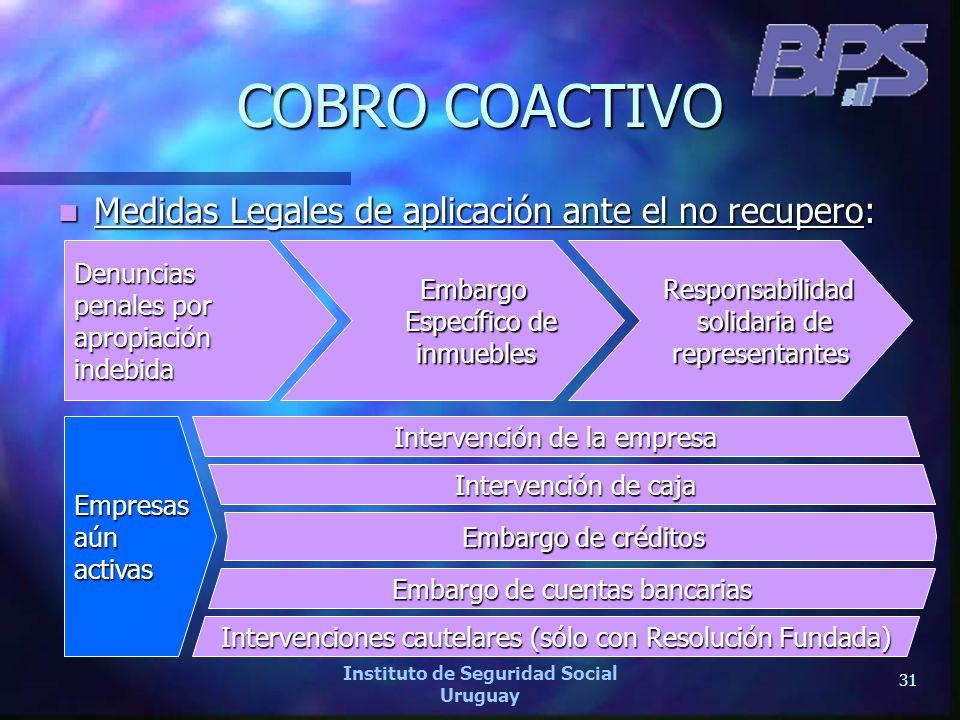 31 Instituto de Seguridad Social Uruguay COBRO COACTIVO Medidas Legales de aplicación ante el no recupero: Medidas Legales de aplicación ante el no re