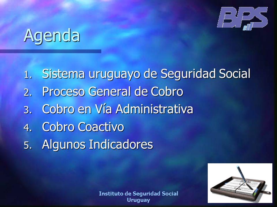 4 Instituto de Seguridad Social Uruguay Agenda 1. Sistema uruguayo de Seguridad Social 2. Proceso General de Cobro 3. Cobro en Vía Administrativa 4. C