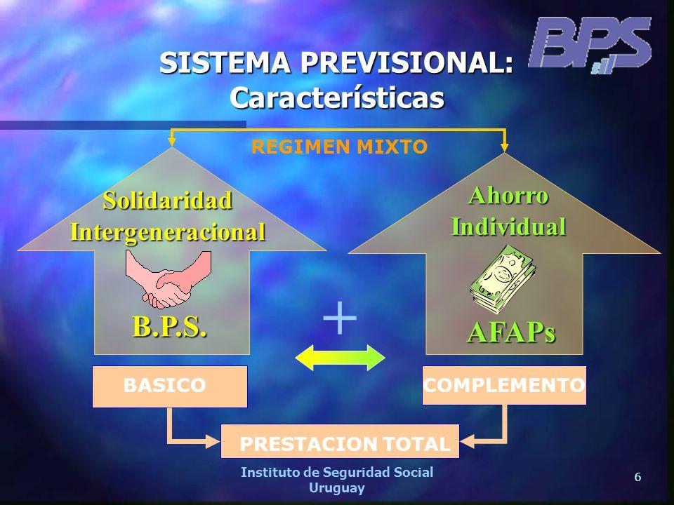 6 Instituto de Seguridad Social Uruguay SISTEMA PREVISIONAL: Características REGIMEN MIXTO SolidaridadIntergeneracional B.P.S. B.P.S. AhorroIndividual