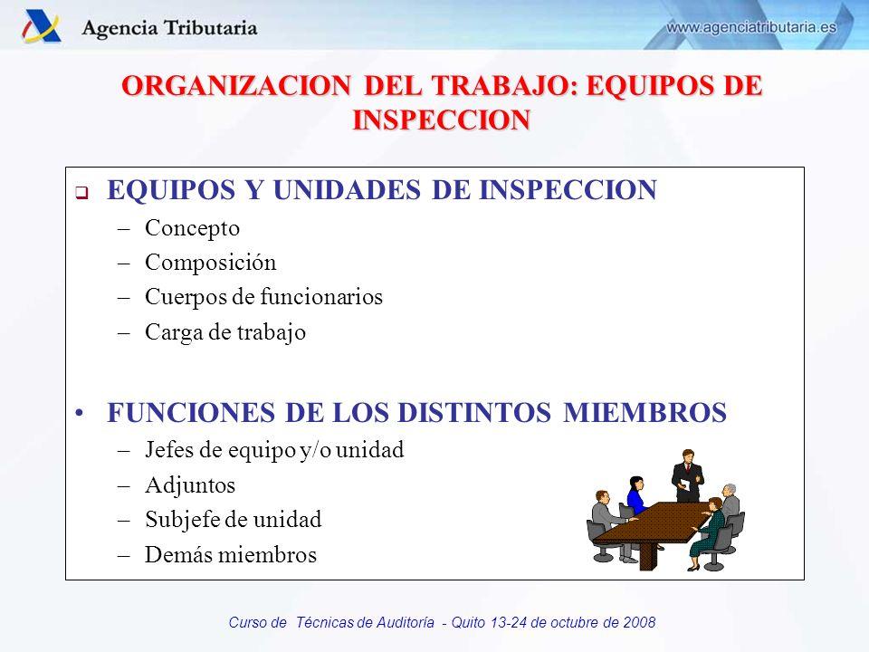 Curso de Técnicas de Auditoría - Quito 13-24 de octubre de 2008 ORGANIZACION DEL TRABAJO: EQUIPOS DE INSPECCION EQUIPOS Y UNIDADES DE INSPECCION –Conc