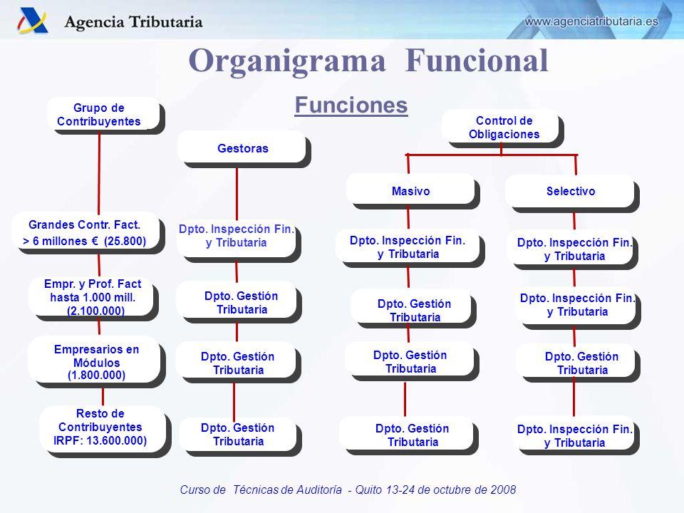 Curso de Técnicas de Auditoría - Quito 13-24 de octubre de 2008 Organigrama Funcional Grupo de Contribuyentes Gestoras Grandes Contr. Fact. > 6 millon