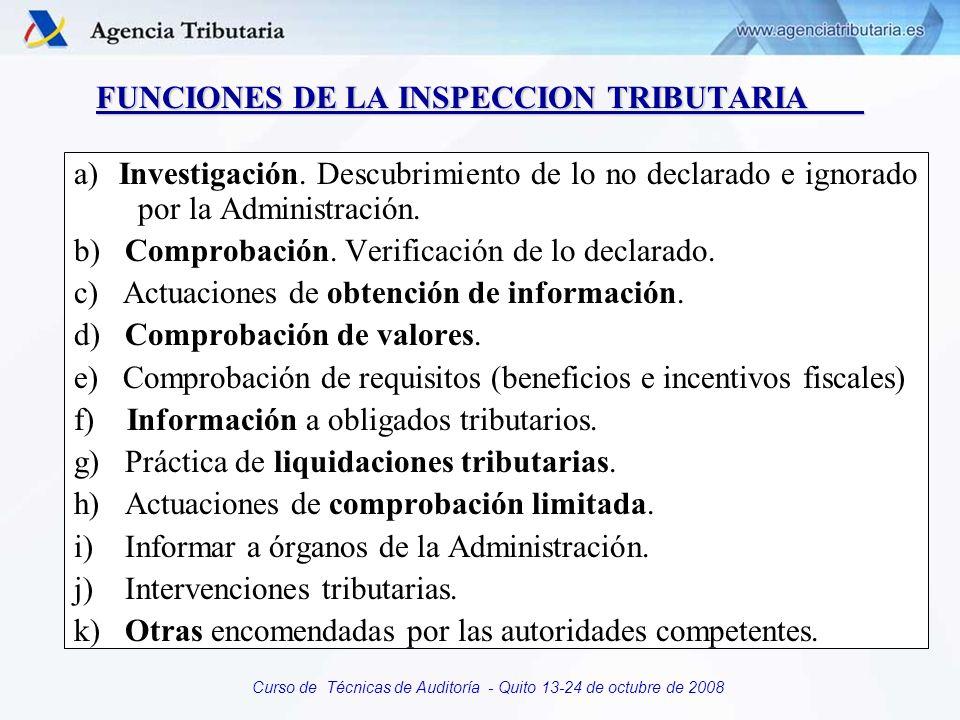 Curso de Técnicas de Auditoría - Quito 13-24 de octubre de 2008 FUNCIONES DE LA INSPECCION TRIBUTARIA a) Investigación. Descubrimiento de lo no declar