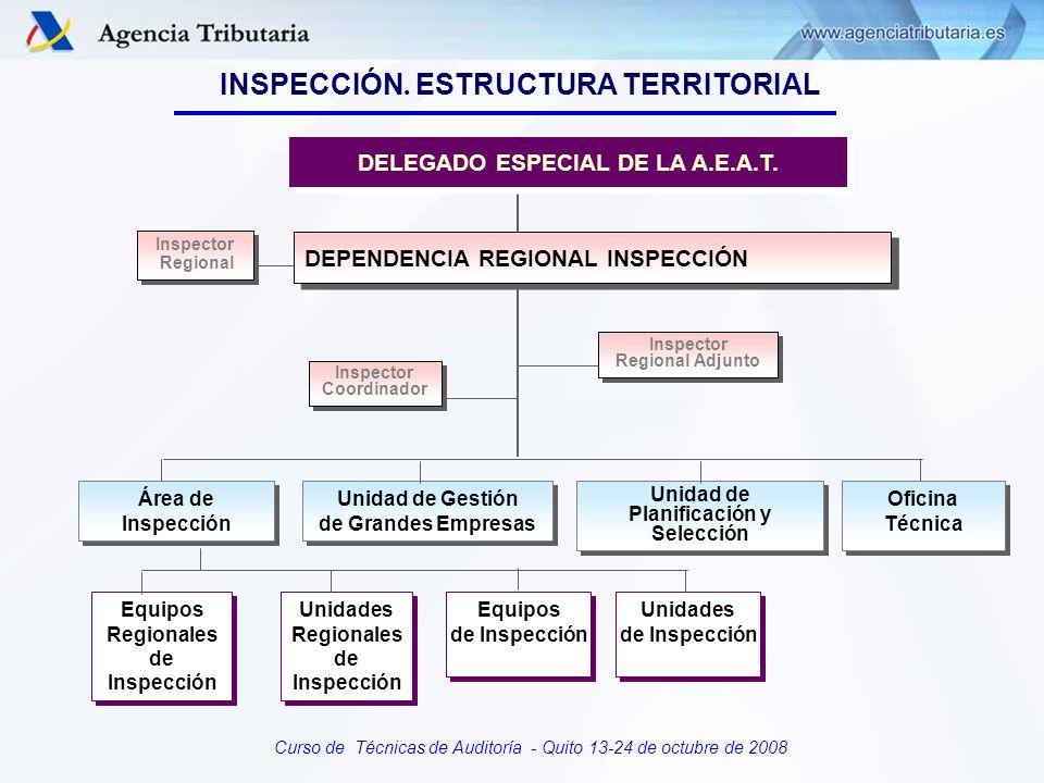Curso de Técnicas de Auditoría - Quito 13-24 de octubre de 2008 Inspector Regional Inspector Regional Inspector Coordinador Inspector Coordinador Insp
