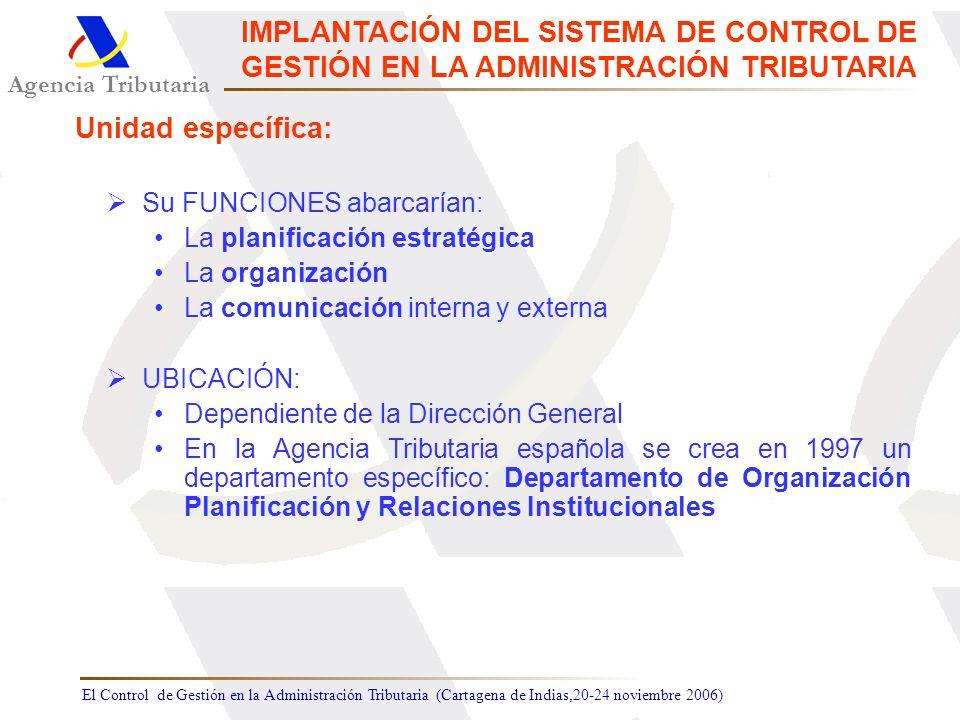 El Control de Gestión en la Administración Tributaria (Cartagena de Indias,20-24 noviembre 2006) Agencia Tributaria IMPLANTACIÓN DEL SISTEMA DE CONTRO