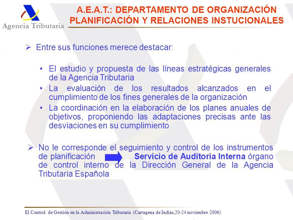 El Control de Gestión en la Administración Tributaria (Cartagena de Indias,20-24 noviembre 2006) Agencia Tributaria A.E.A.T.: DEPARTAMENTO DE ORGANIZA