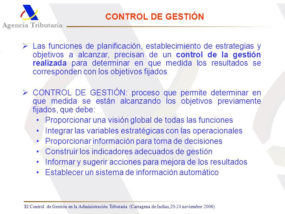 El Control de Gestión en la Administración Tributaria (Cartagena de Indias,20-24 noviembre 2006) Agencia Tributaria CONTROL DE GESTIÓN Las funciones d