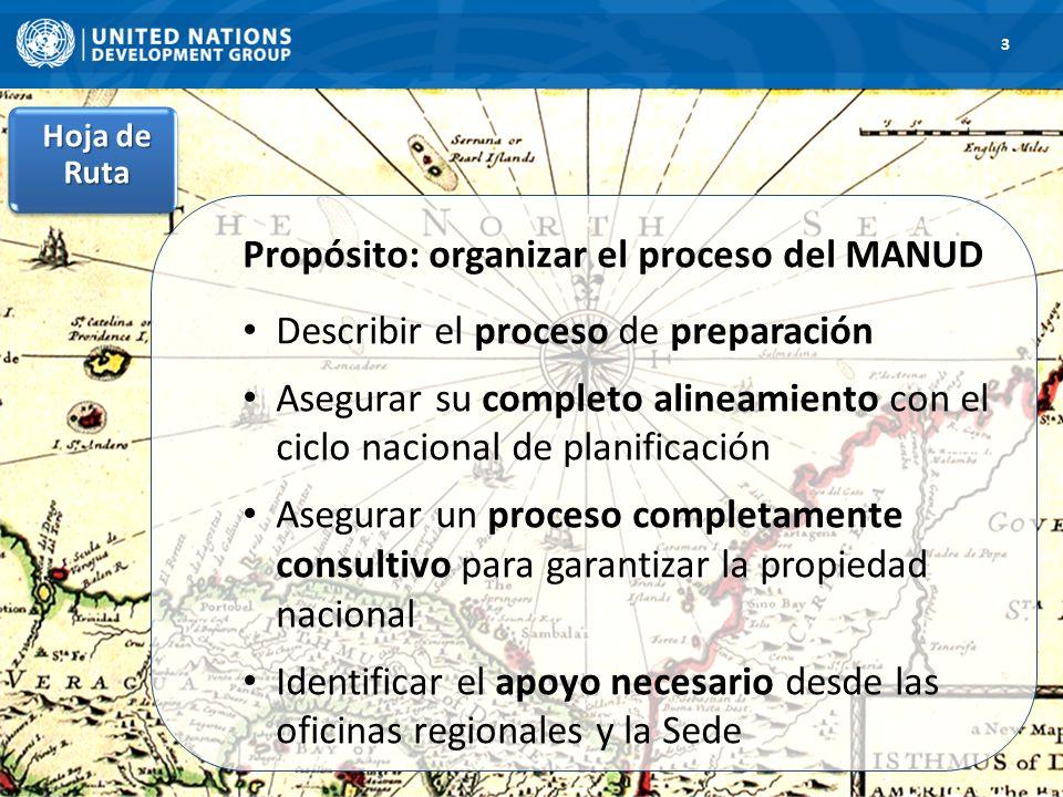 1. Hoja de Ruta 3 Propósito: organizar el proceso del MANUD Describir el proceso de preparación Asegurar su completo alineamiento con el ciclo naciona