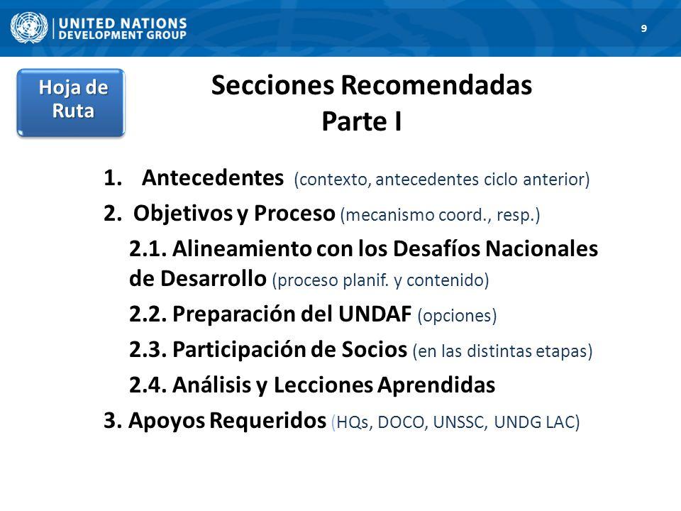 Secciones Recomendadas Parte I 1.Antecedentes (contexto, antecedentes ciclo anterior) 2. Objetivos y Proceso (mecanismo coord., resp.) 2.1. Alineamien