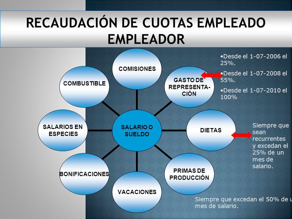 SALARIO O SUELDO COMISIONES GASTO DE REPRESENTA- CIÓN DIETAS PRIMAS DE PRODUCCIÓN VACACIONESBONIFICACIONES SALARIOS EN ESPECIES COMBUSTIBLE Siempre que excedan el 50% de un mes de salario.