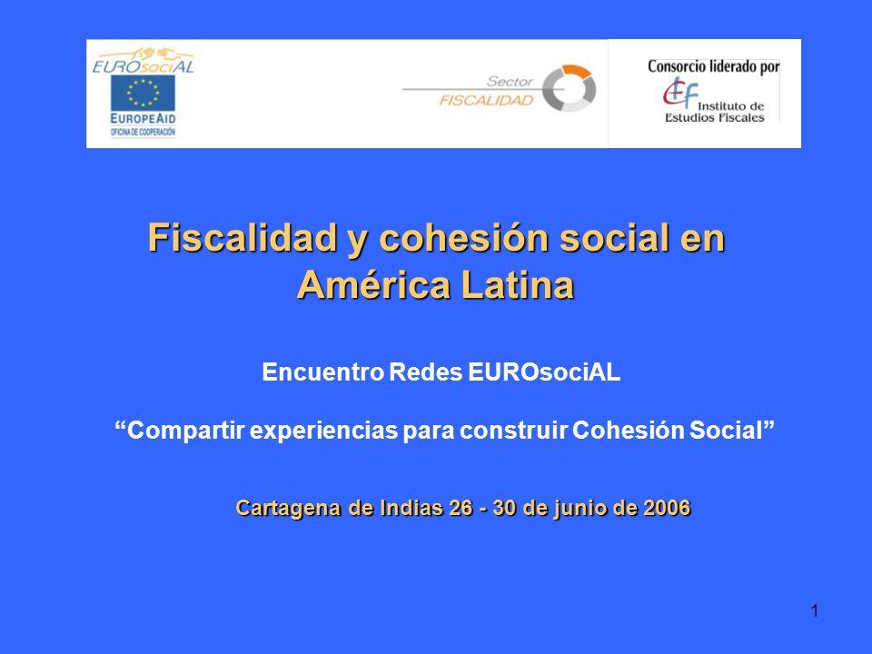 1 Fiscalidad y cohesión social en América Latina Cartagena de Indias 26 - 30 de junio de 2006 Encuentro Redes EUROsociAL Compartir experiencias para construir Cohesión Social