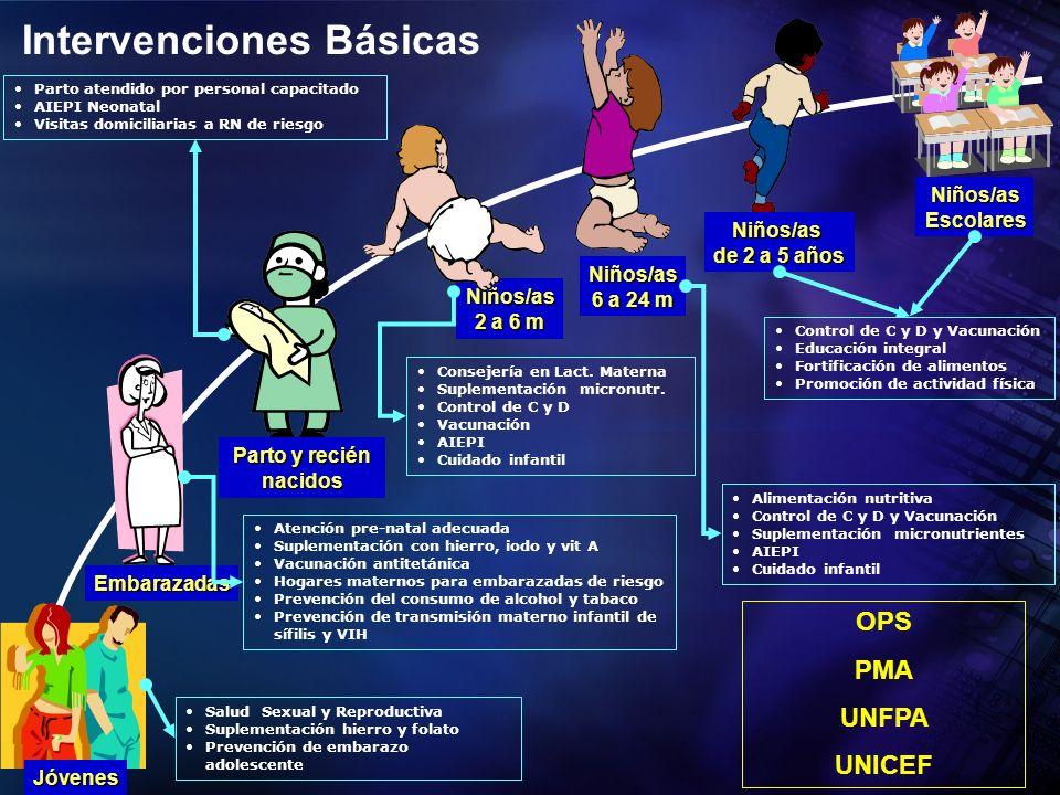 Niños/as 2 a 6 m Salud Sexual y Reproductiva Suplementación hierro y folato Prevención de embarazo adolescente Jóvenes Embarazadas Niños/as 6 a 24 m N