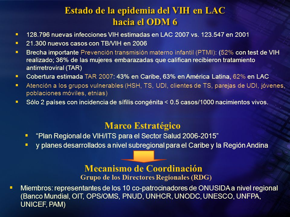 Estado de la epidemia del VIH en LAC hacia el ODM 6 Marco Estratégico Plan Regional de VIH/ITS para el Sector Salud 2006-2015 y planes desarrollados a
