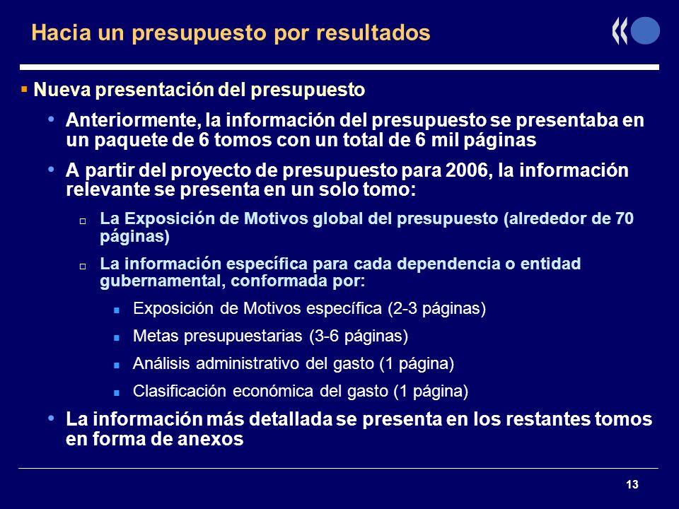 13 Hacia un presupuesto por resultados Nueva presentación del presupuesto Anteriormente, la información del presupuesto se presentaba en un paquete de