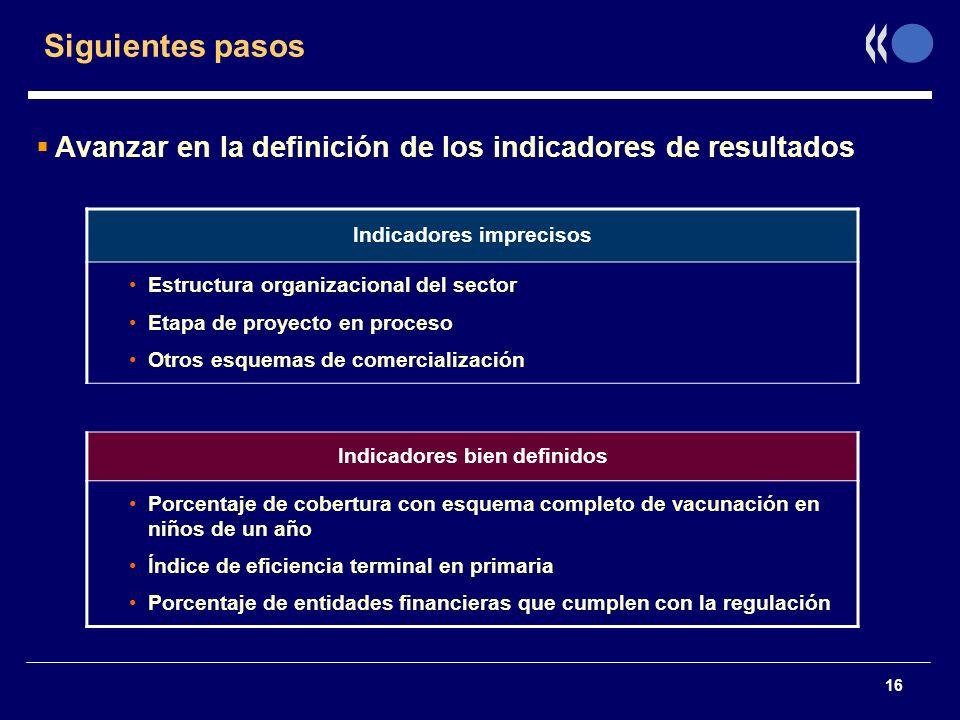 16 Siguientes pasos Avanzar en la definición de los indicadores de resultados Indicadores imprecisos Estructura organizacional del sector Etapa de pro