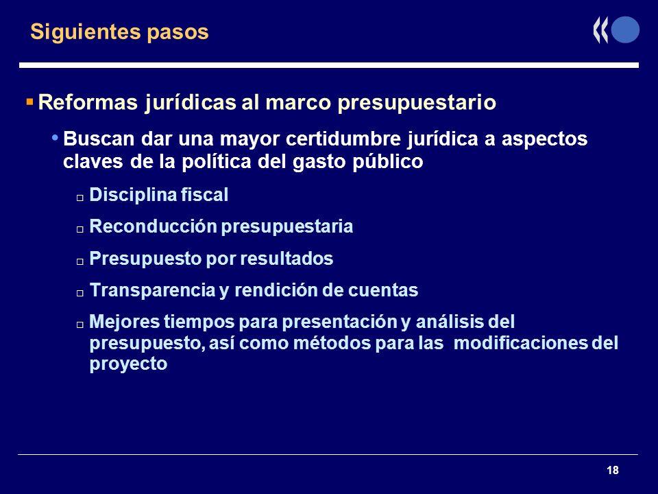 18 Siguientes pasos Reformas jurídicas al marco presupuestario Buscan dar una mayor certidumbre jurídica a aspectos claves de la política del gasto pú