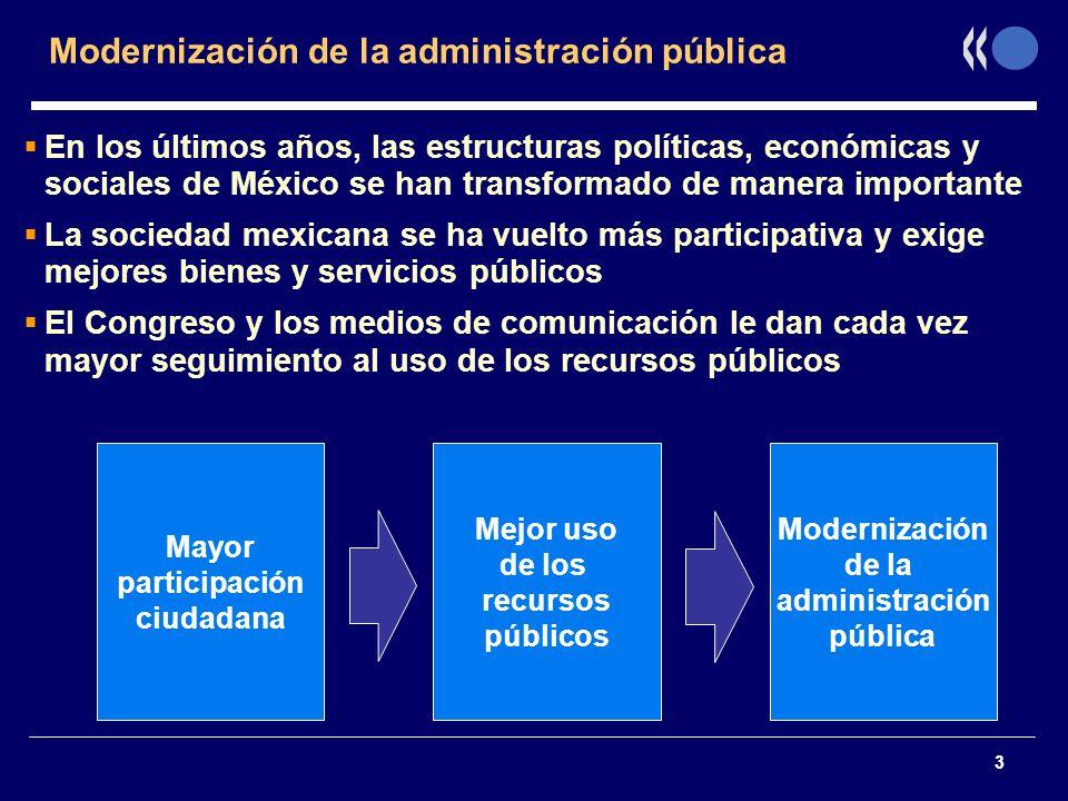 3 Modernización de la administración pública En los últimos años, las estructuras políticas, económicas y sociales de México se han transformado de ma
