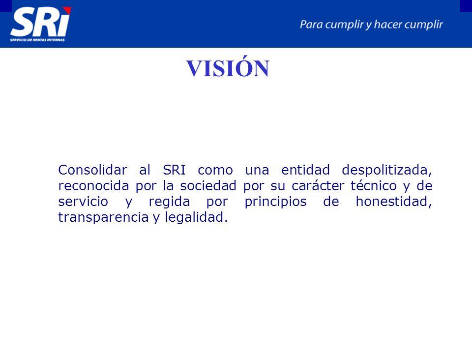 VISIÓN Consolidar al SRI como una entidad despolitizada, reconocida por la sociedad por su carácter técnico y de servicio y regida por principios de honestidad, transparencia y legalidad.