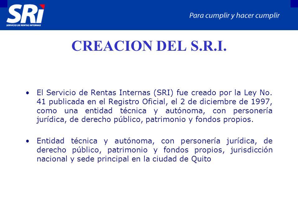 CREACION DEL S.R.I. El Servicio de Rentas Internas (SRI) fue creado por la Ley No. 41 publicada en el Registro Oficial, el 2 de diciembre de 1997, com