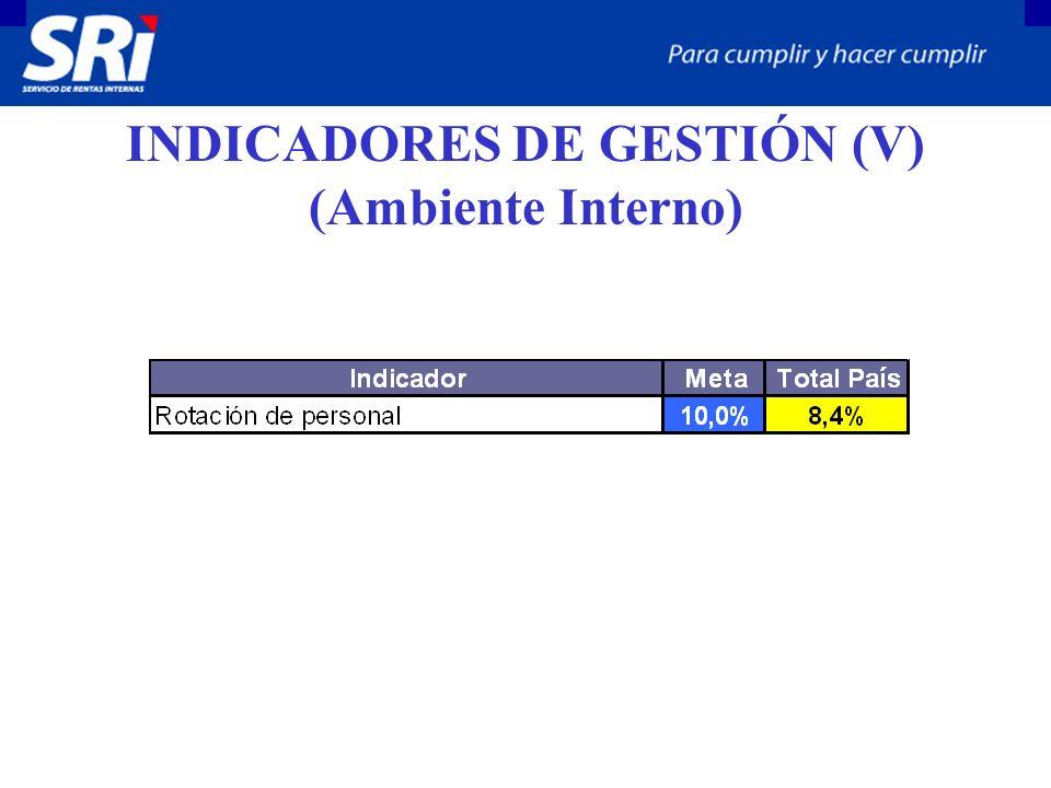 INDICADORES DE GESTIÓN (V) (Ambiente Interno)