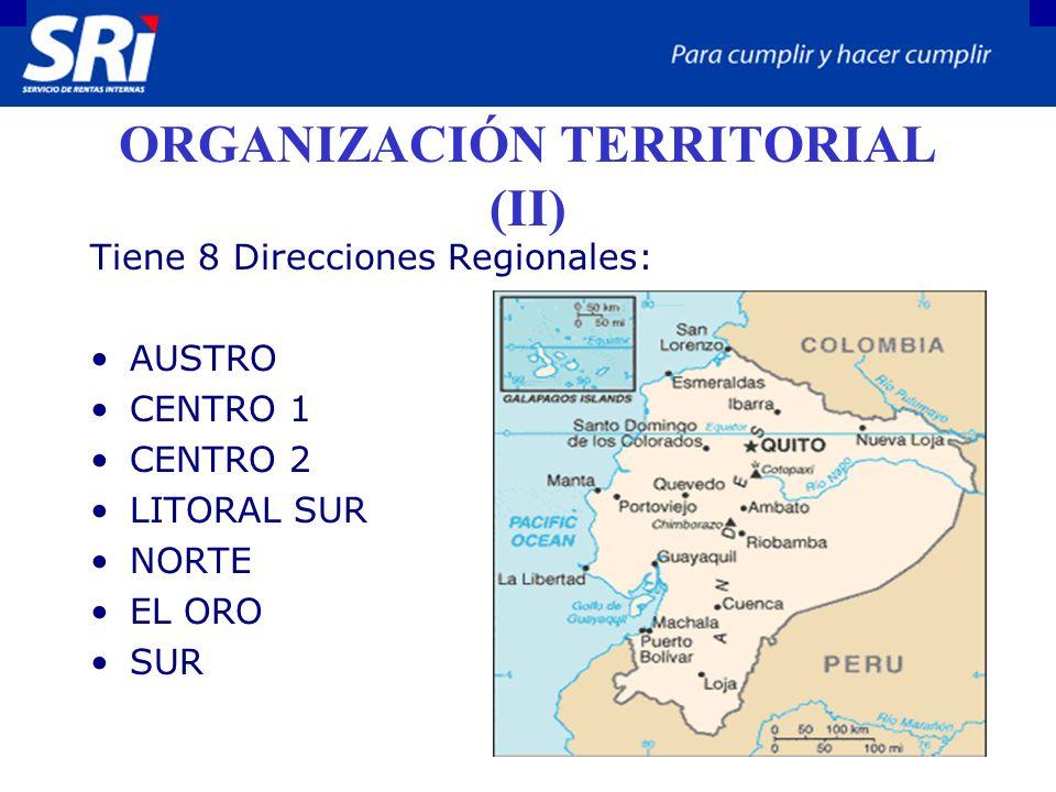 ORGANIZACIÓN TERRITORIAL (II) Tiene 8 Direcciones Regionales: AUSTRO CENTRO 1 CENTRO 2 LITORAL SUR NORTE EL ORO SUR