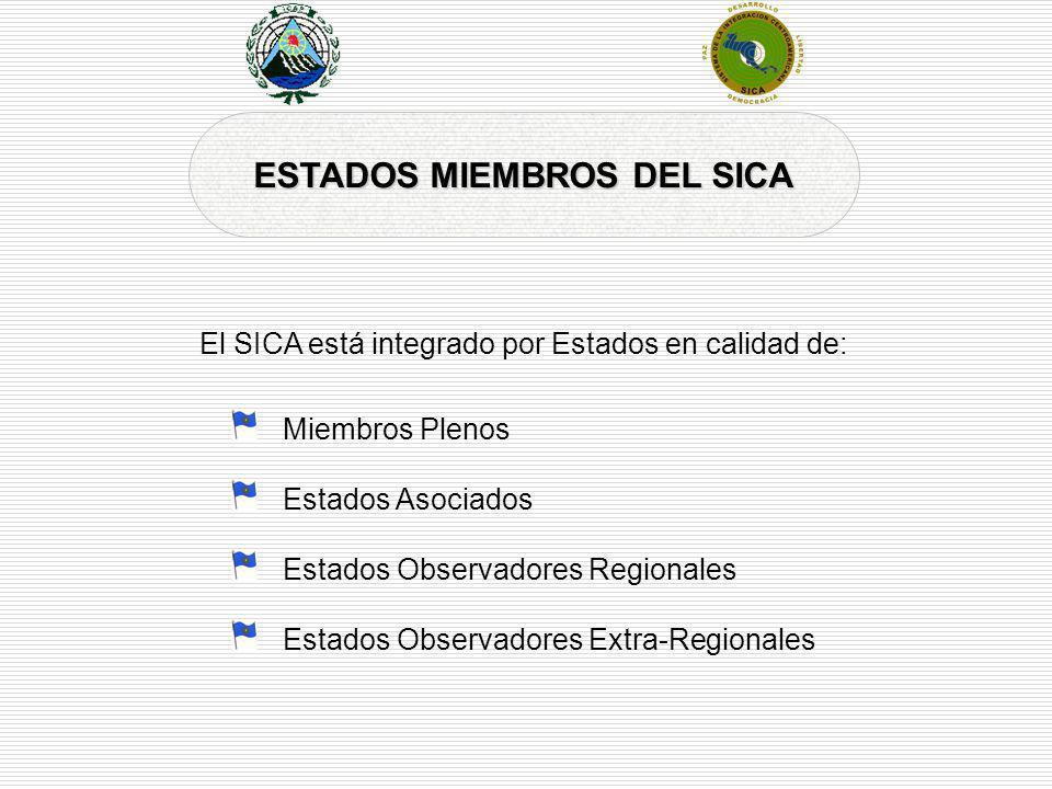 ESTADOS MIEMBROS DEL SICA Miembros Plenos Estados Asociados Estados Observadores Regionales Estados Observadores Extra-Regionales El SICA está integra