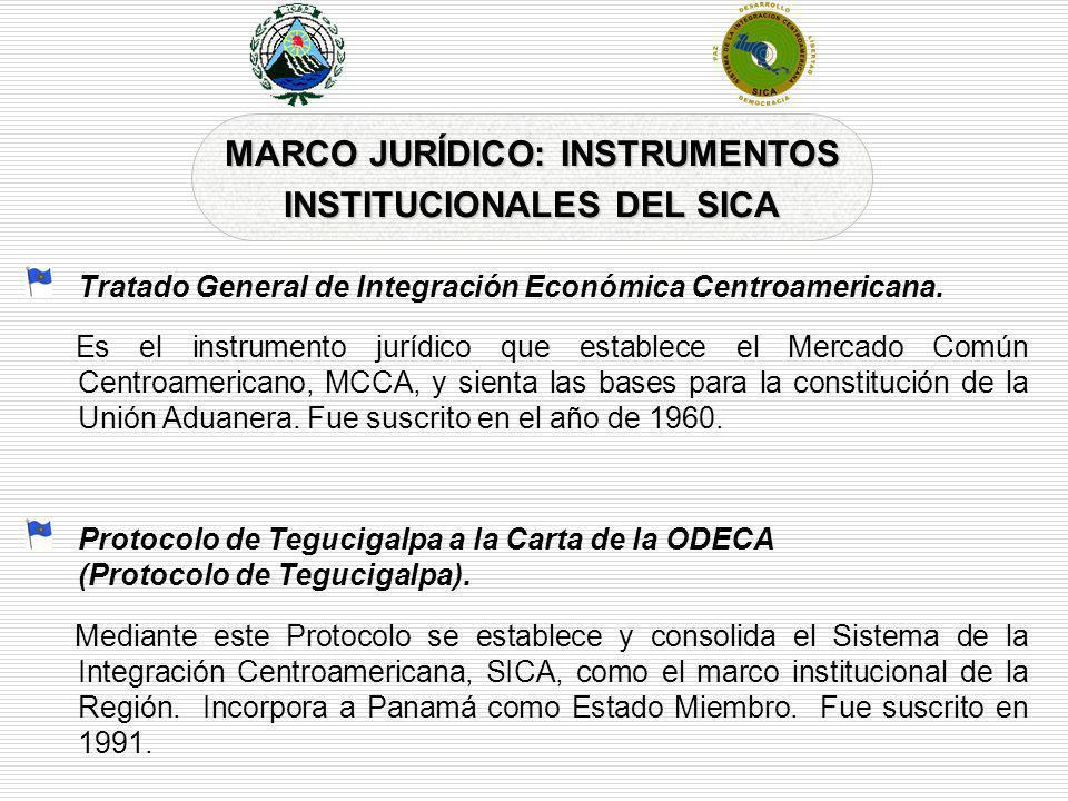 MARCO JURÍDICO: INSTRUMENTOS INSTITUCIONALES DEL SICA Tratado General de Integración Económica Centroamericana. Es el instrumento jurídico que estable