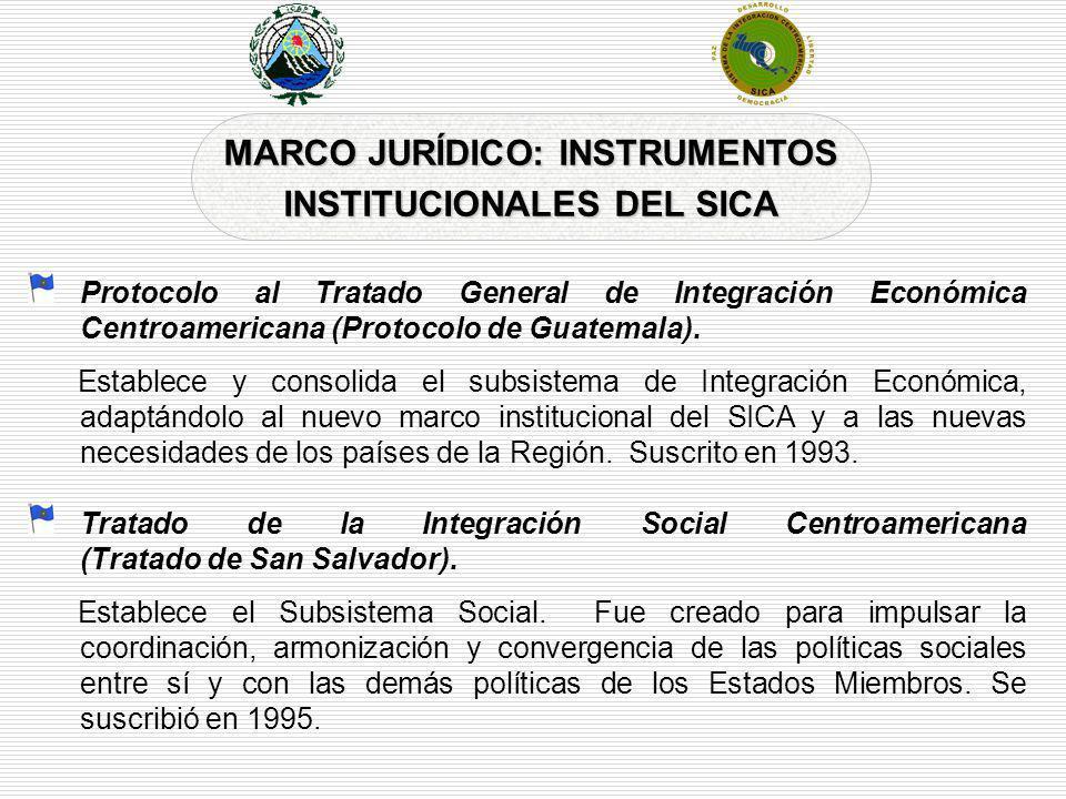 MARCO JURÍDICO: INSTRUMENTOS INSTITUCIONALES DEL SICA Protocolo al Tratado General de Integración Económica Centroamericana (Protocolo de Guatemala).