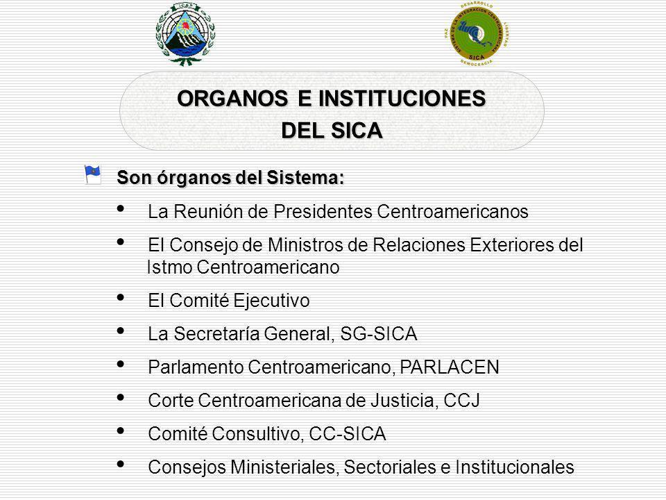 ORGANOS E INSTITUCIONES DEL SICA Son órganos del Sistema: La Reunión de Presidentes Centroamericanos El Consejo de Ministros de Relaciones Exteriores