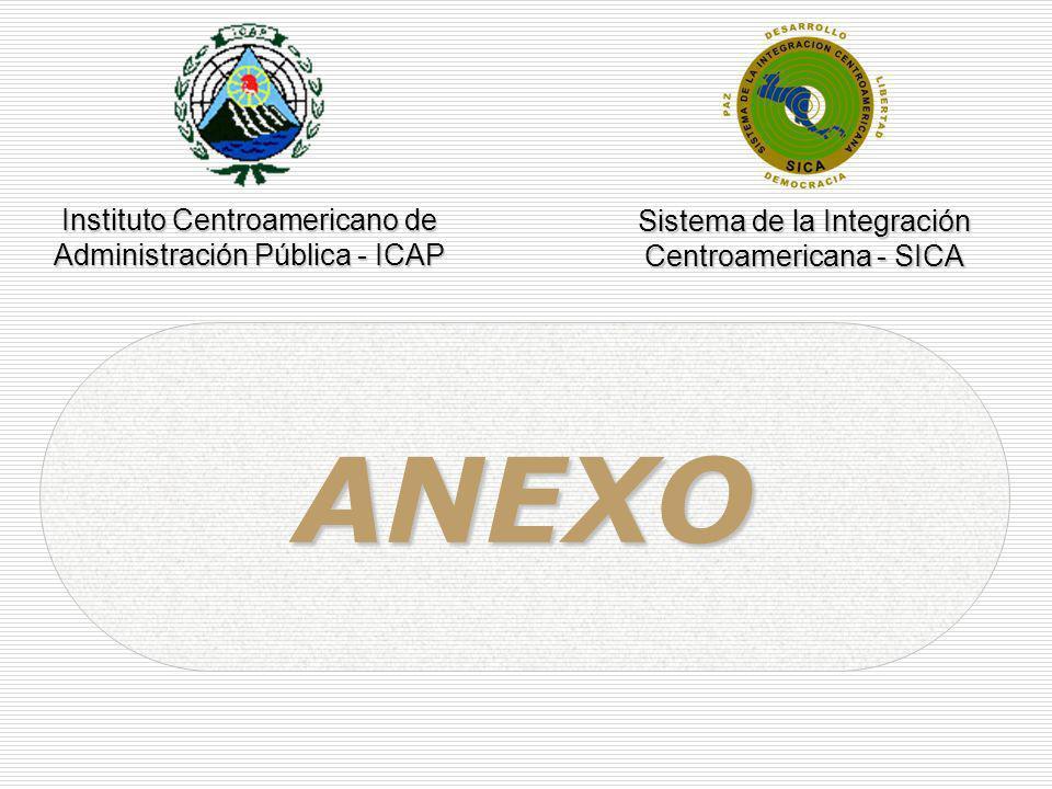 ANEXO Instituto Centroamericano de Administración Pública - ICAP Sistema de la Integración Centroamericana - SICA