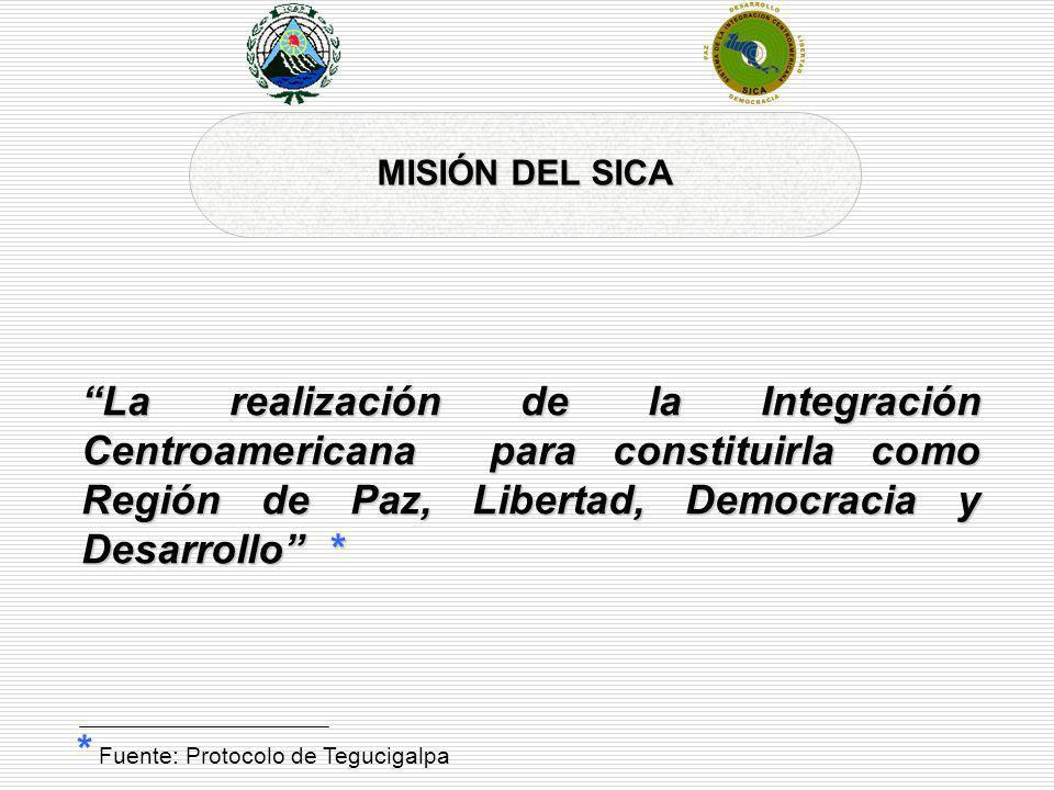 MISIÓN DEL SICA La realización de la Integración Centroamericana para constituirla como Región de Paz, Libertad, Democracia y Desarrollo * * Fuente: P