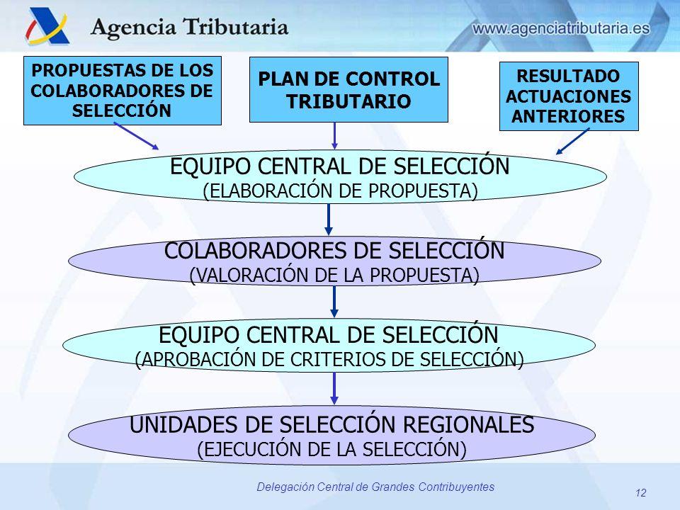12 Delegación Central de Grandes Contribuyentes EQUIPO CENTRAL DE SELECCIÓN (ELABORACIÓN DE PROPUESTA) PROPUESTAS DE LOS COLABORADORES DE SELECCIÓN PL