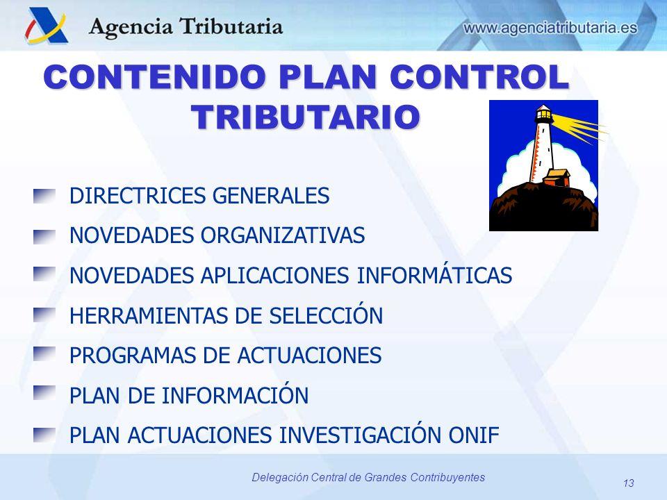 13 Delegación Central de Grandes Contribuyentes CONTENIDO PLAN CONTROL TRIBUTARIO DIRECTRICES GENERALES NOVEDADES ORGANIZATIVAS NOVEDADES APLICACIONES