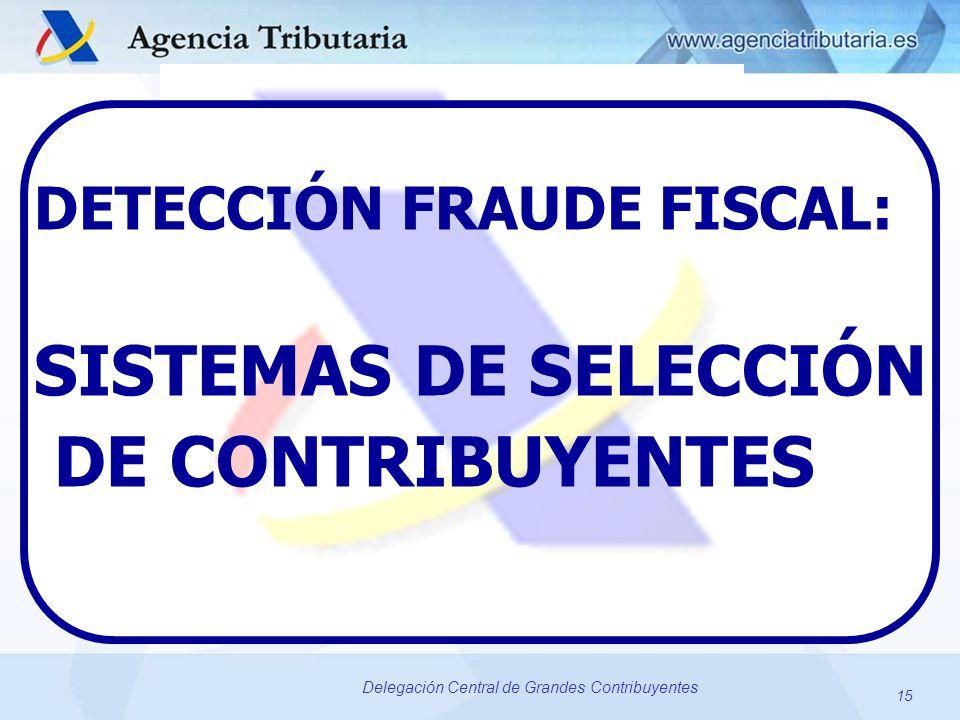 15 Delegación Central de Grandes Contribuyentes DETECCIÓN FRAUDE FISCAL: SISTEMAS DE SELECCIÓN DE CONTRIBUYENTES 15