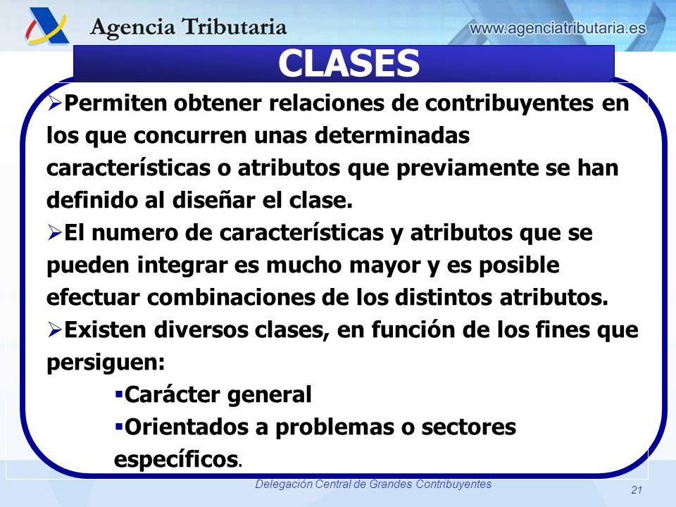 21 Delegación Central de Grandes Contribuyentes CLASES Permiten obtener relaciones de contribuyentes en los que concurren unas determinadas caracterís