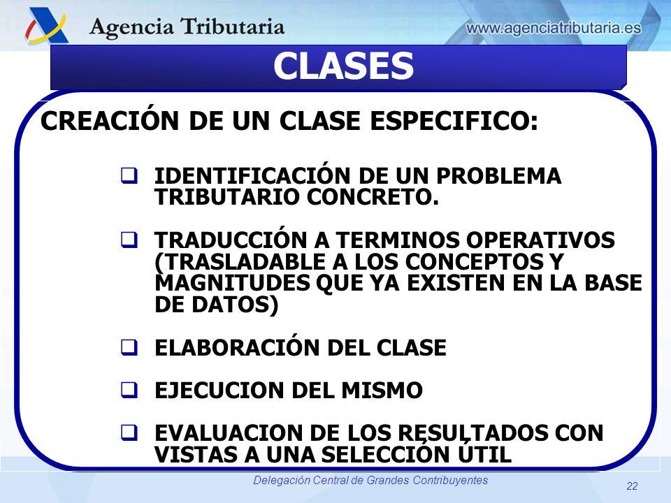 22 Delegación Central de Grandes Contribuyentes CLASES CREACIÓN DE UN CLASE ESPECIFICO: IDENTIFICACIÓN DE UN PROBLEMA TRIBUTARIO CONCRETO. TRADUCCIÓN