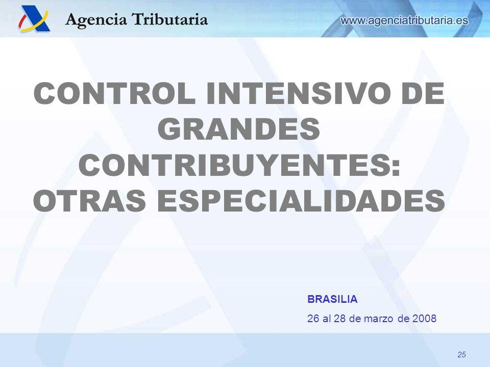 25 CONTROL INTENSIVO DE GRANDES CONTRIBUYENTES: OTRAS ESPECIALIDADES BRASILIA 26 al 28 de marzo de 2008 25