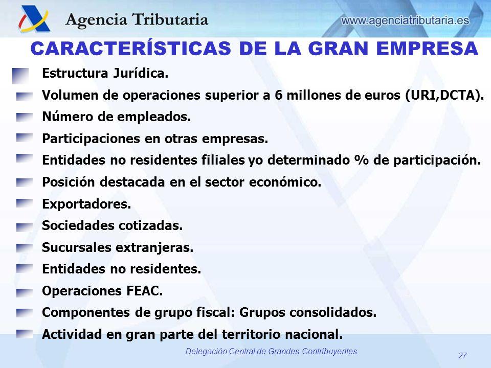 27 Delegación Central de Grandes Contribuyentes CARACTERÍSTICAS DE LA GRAN EMPRESA Estructura Jurídica. Volumen de operaciones superior a 6 millones d